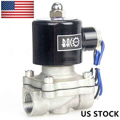 """BACOENG 1/2"""" Inch NPT 110V AC SS304 Electric Solenoid Valve Water/Air/Fuel N/C"""