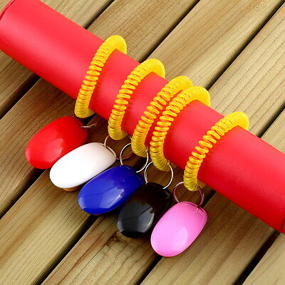Dog&Cat Pet Click Clicker Training Obedience Agility Trainer Aid Wrist Strap B9
