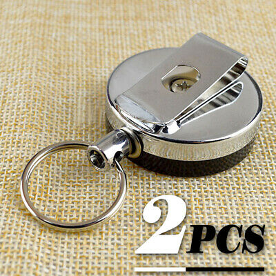 2p Metal Steel Retractable Pull Chain Holder Reel Recoil Key Ring Belt Clip Snap