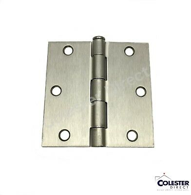 "Satin Nickel Interior Door Hinge 3.5"" with Square Corner 3 1/2 inches"