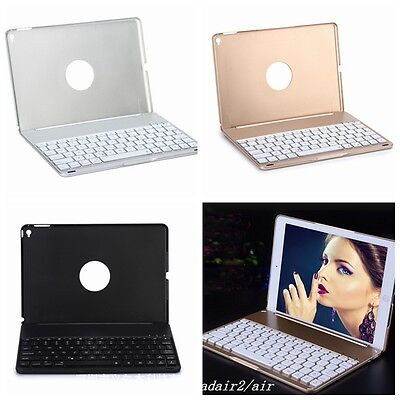 iPad  Air 2  Case Cover with LED Backlight Wireless Bluetooth Keyboard 7 Color