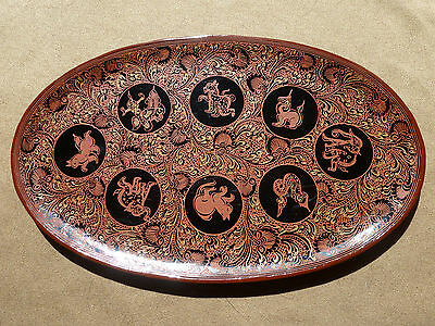 Burmese Traditional Lacquerware Small Tray:Birth Day of the Week Zodiac ~Myanmar