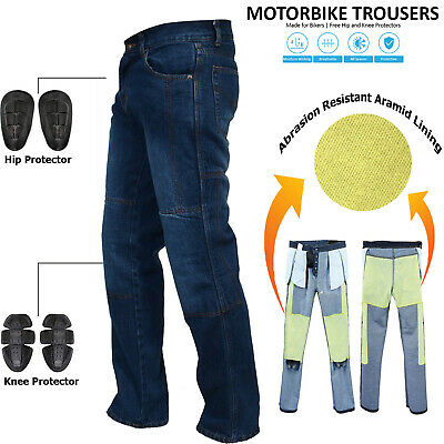 Mens Blue Motorcycle Motorbike Jeans Trouser With Aramid Protective Lining Pants