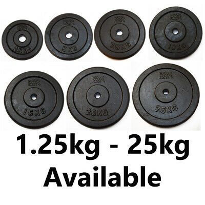 """Fxr Sports Cast Iron 1"""" Weight Plates Hole Disc Dumbbell Barbell Weight Fitness"""