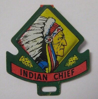 Vintage Post's Raisin Bran INDIAN CHIEF Metal Tin Badge Premium Cereal Giveaway