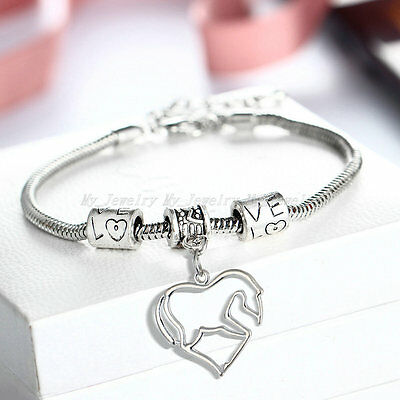 Silver Plated Heart Horse Beads Bangle Bracelet Fashion Charm Jewelry Gifts New