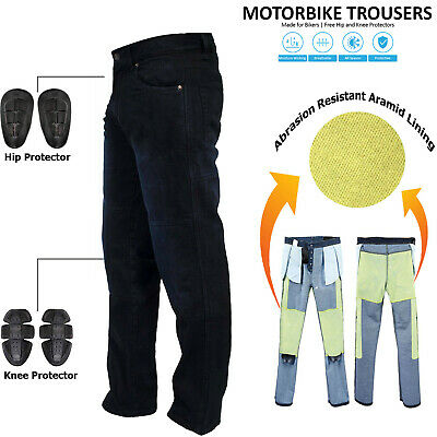 Mens Black Motorcycle Motorbike Jeans Trousers With Aramid Protective Lining New