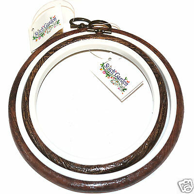 One Stitch Garden flexi hoop - woodgrain colour, choice of sizes