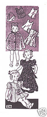 """236 Vintage Chubby Doll Pattern - Size 16"""" - WWII Year 1941"""