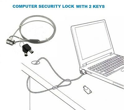 Anti-Theft Computer Laptop Notebook PC Strong Security Cable Lock + Two Keys UK