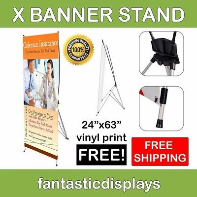 24x63 X-Shaped Tripod Banner Stand with Printing Included for Trade Show Booths
