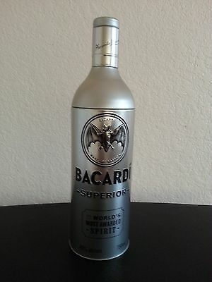 Bacardi Superior Silver  Aluminum Tin Canister Cover 750 Ml