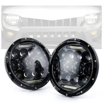 2X 7'' inch 75W LED Headlight DRL Lamp High/Low Beam for JEEP JK Wrangler JK YJ