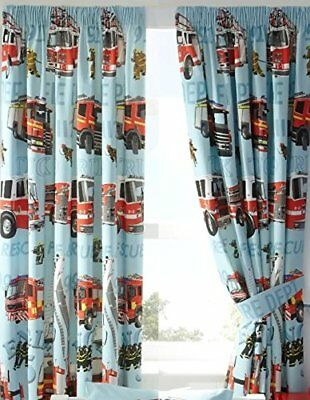 Fire Engines Boys Blue Fully Lined Ready Made Pencil Pleat 66 x 72 Curtains New
