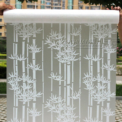 2M Bamboo Privacy Frosted Static  Bedroom Bathroom Glass Window Film