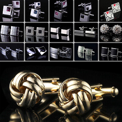 Men Cufflinks Stainless Steel Business Cuff Links Metal Crystal High Quality