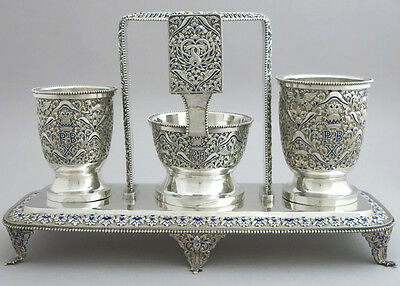 VERY RARE ANTIQUE FRENCH or RUSSIAN STERLING SILVER SMOKING COMPANION SET ENAMEL