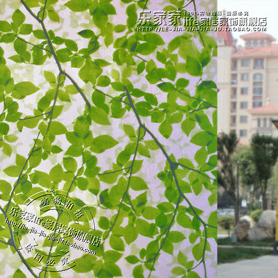 2M Green Leaves Privacy Glass  Static Cling Window Film Frosted Stained Geomet
