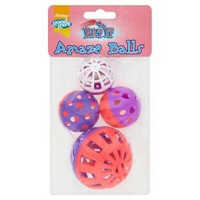 Good Girl Bat It Amaze Balls Cat Kitten Bell Balls Toy Game 4 Pack