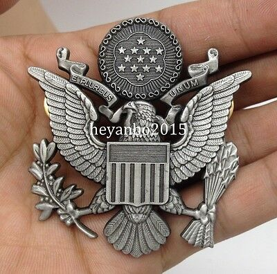 Wwii Military Us Army Officer Cap Eagle Metal Badge Insignia Hat Gray
