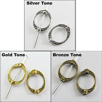 10Pcs Antiqued Silver Gold Bronze Tone Crafted Oval Bead Frame 14.5x19.5mm