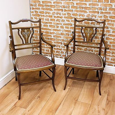 Pair of Antique Edwardian Mahogany Boxwood Inlaid Decorative Upholstered Chairs