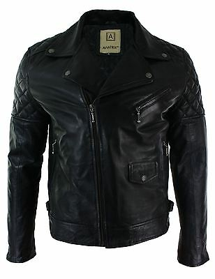Mens Cross Zip Biker Jacket Real Leather Black Tailored Fit Retro Casual S - 5XL