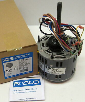 d721 5 fasco 1 4 hp 1075 115 v 3 speed furnace blower fan motor w d727 fasco 1 3 hp 1075 rpm 115 v 3 speed furnace blower fan motor