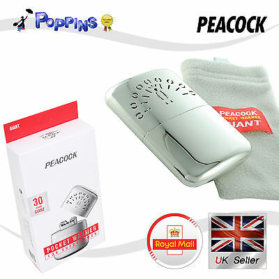 New Peacock Pocket Hand Warmer GIANT 30 Hours Outdoor Sports Travel