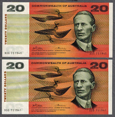 Commonwealth of Australia 1972 Phillips/Wheeler $20 Consecutive Pair Banknotes