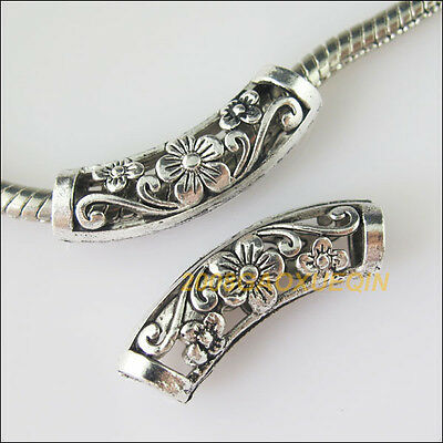 Wholesale Tibetan Silver Wave Tube Flower Spacer Beads Charms 9x25.5mm