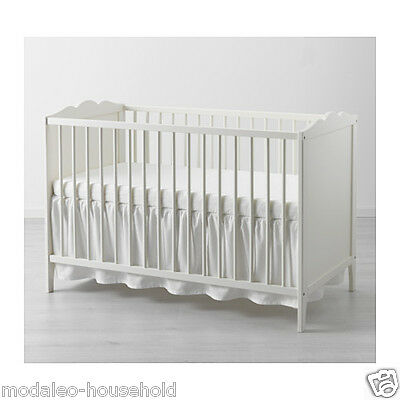 IKEA LEN COT SKIRT - WHITE- 60X120 cm- GIVE WARM & COSY TOUCH TO BABY COTS -B111