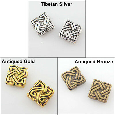 20Pcs Antiqued Silver Gold Bronze Tone Square-Flat Spacer Beads Charms 7mm