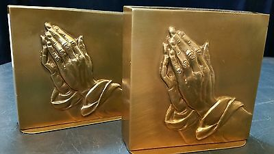 PAIR of  BRASS BRONZE Detailed Hand BOOK ENDS - Praying Hands Bookends