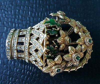 Faberge Flower Basket Pin, plated with 24 K Gold, decorated w/enamel/rhinestones
