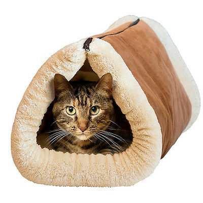 2 in 1 Soft Plush Cat Dog Bed Pet Kitten Puppy Igloo Cave Kennel House Mat Pad