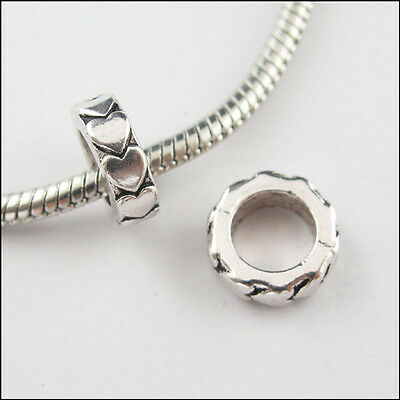8Pcs Antiqued Silver 6.5mm Hole Heart Ring Bead Charm Fit Bracelet 11mm