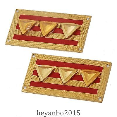 WWII WW2 Chinese KMT Kuomintang Army Colonel Collar Tabs Color Gold