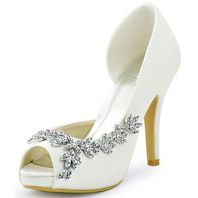 Wedding Bridal Shoes High Heels Peep Toe Rhinestones Satin Party Pumps size 4-11