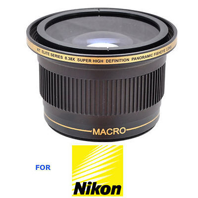52Mm X38 Fisheye Wide Angle Lens+ Macro Lens For Nikon D3000 D3100 Free Shipp