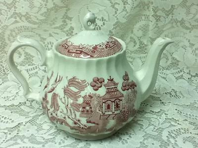 Vintage, Large, 7.5in H by 9.5 in W, Red Willow Teapot with Swirled Design