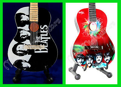 2 x Miniature Guitars THE BEATLES with free stands. SERGEANT PEPPER