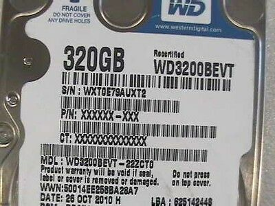 "320GB Western Digital WD3200BEVT 2.5"" Laptop SATA Hard Drive"