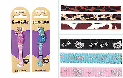 Rosewood Reflective Cat Kitten Safety Collar - Animal Print, Pink, Blue
