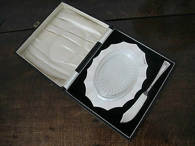 Superb Cased Hallmarked Sterling Silver And Glass Butter Dish & Knife - 1930/3