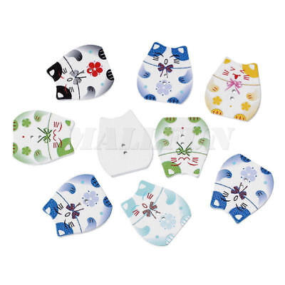 100X Wooden Buttons Cartoon Cat Shaped Mix Color 2-hole Sewing Scrapbook DIY