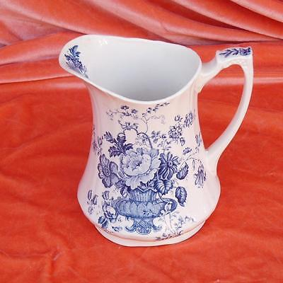 Vintage Alfred Meakin Charlotte Water Pitcher English Pottery Blue Floral White
