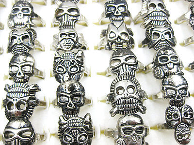 New wholesale jewelry lots 30pcs fashion skull silver plated rings free shipping