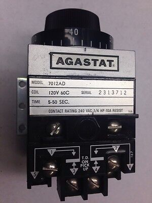 Agastat 7012AD  5-50 Second 120VAC COIL 240V Time Timing Delay Relay Timer
