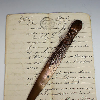 Antique French Bronze Letter Knife with Cicada and Wheat /Opener